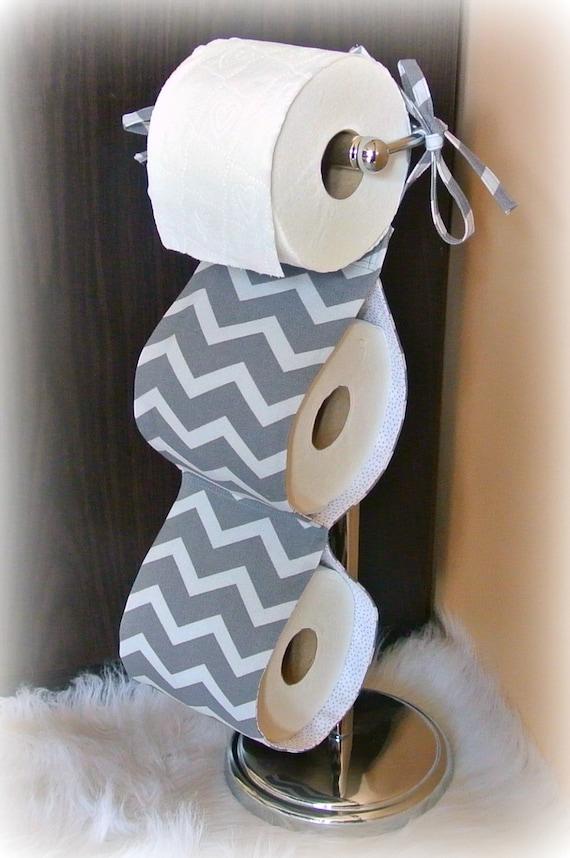 Fabric toilet paper holder grey chevron bathroom - Bathroom accessories toilet paper holders ...