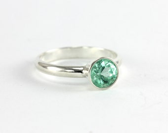 Natural Colombian Emerald Ring - Sterling Silver, 14k Yellow Gold, 14k Palladium White Gold, 950 Palladium - Engagement Wedding Promise Ring