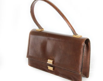 Chocochino, Vintage, 1950s Tan Leather Handbag, Mad Men Style, from Paris