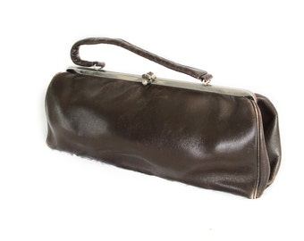 Brownie, Vintage, 1950s Brown Leather Handbag, Mad Men Style, from Paris