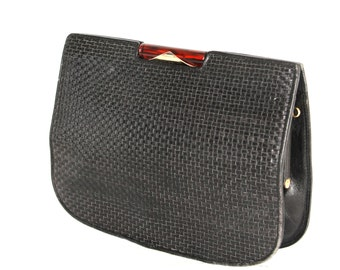 Jet, Vintage, Black Leather Clutch Handbag, from Paris