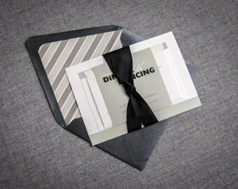 "Black and White Wedding Invitation, Modern Striped Invitation, Black Tie Invite, Fun - ""Bold Striped"" Flat Panel, No Layers, v1 - SAMPLE"