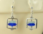 GENUINE Rare Cobalt Blue And Cornflower Sea Glass Earrings Sterling Silver Squares Geometric Jewelry