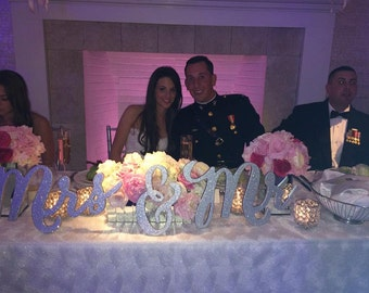 Wedding Signs for Chair Mr & Mrs Signs for Bride and Groom Hanging Sweetheart Table Decor Wedding Reception Decoration  (Item - MCK200)