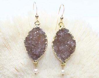 FLASH SALE Berry Druzy Earrings, Amethyst Stones, Druzy Jewelry, Gemstone Jewelry, Purple Drusy Earrings, Purple Gemstone Earrings
