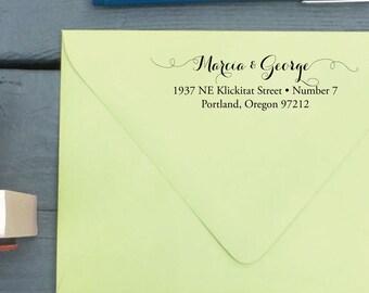 Calligraphy Stamp - Custom return address stamp - Modern - Rubber Stamp with Wooden Handle or Self-Inking Stamper