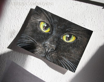Original ACEO Eyes of the cats No.4 Original Painting- Watercolor- Card -collectible- fine art