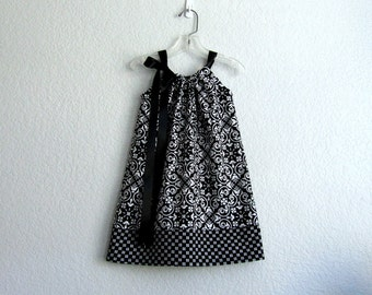Black and Pale Grey Damask Dress - Little Girls Pillowcase Dress - Sun Dress - Size 12m, 18m, 2T, 3T, 4T, 5 or 6