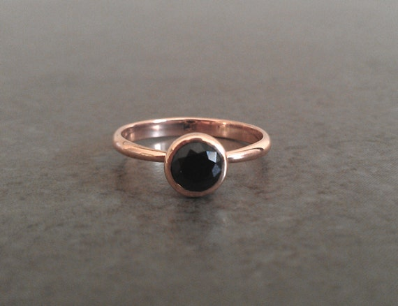 Black Spinel in 14k Rose Gold - Diamond Alternative - Black Engagement Ring - Recycled Gold - Made to Order