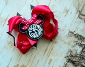 M2M Minnie Mouse with Embroidered Circle Script Monogram Boutique Style Hair Bow Black Polka Dots Red White
