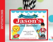 6 Circus Invitations, Handmade Circus Party Inspired Invitations  A1049