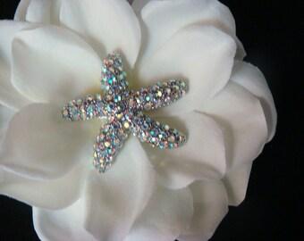 Ivory Bridal Flower with Rhinestone STARFISH centerpiece / Swarovski crystal starfish Aurora borealis BEACH WEDDING