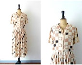 Day dress Silk Printed Geometric Vintage 50s