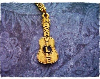 Gold Nashville Guitar Necklace - Antique Gold Pewter Nashville Guitar Charm on a Delicate Gold Plated Cable Chain or Charm Only