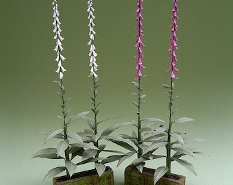 Foxglove Paper Flower Kit  for 1/12th scale Dollhouses, Florists and Miniature Gardens