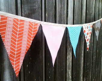 Party Bunting Flags cayenne red, sand, coffee brown, turqoise and dusk pink modern geometric shapes