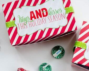 Christmas PRINTABLE Neighbor Gift Tag (HUGS & KISSES) by Love The Day