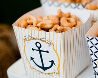 Nautical Baby Shower PRINTABLES Popcorn Box by Love The Day