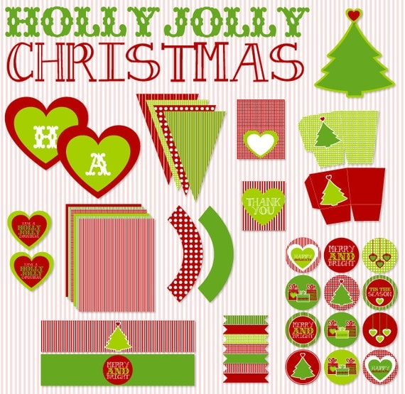 Holly Jolly Christmas PRINTABLE Party (INSTANT DOWNLOAD) by Love The Day