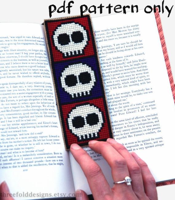 Skulls Cross Stitch Pattern PDF Bookmark