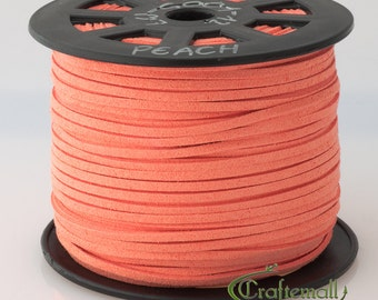 Faux suede cord 3mm wide - peach - 3 meters