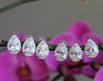 Pairs of 2 - 12 bridesmaid earrings, cz earrings, wedding jewelry, bridal jewelry, wedding earrings, bridal earrings, bridesmaid earrings
