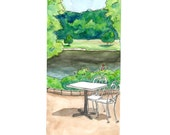 Patio at Moonlite Gardens Watercolor Print, Cincinnati, Ohio