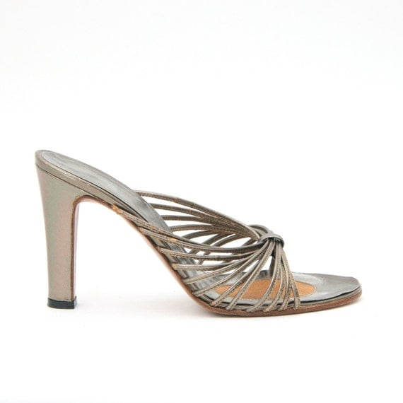 Vintage 70s Bronze Metallic Leather Heels Mules Strappy Sandals 6 Disco Glam American Hustle