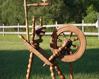Antique Primitive Saxon Style Spinning Wheels