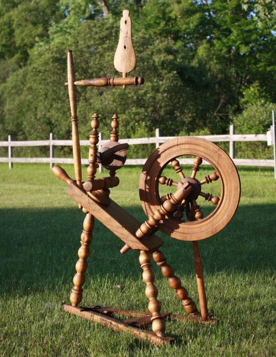 Antique Primitive Saxon Style Spinning Wheels