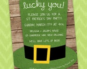 Printable Digital File - St. Patrick's Day Party Invitation - Customizable for any Party or Birthday (Green Leprechaun Hat on Barnwood)