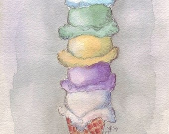 Ice Cream Watercolor Painting - Five Scoops Cone Watercolor Art Print, 5x7 Print