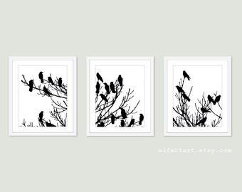 Birds on Tree Prints - Birds Triptych - Birds Wall Art - Black and White Bird Art - Perched Birds on Tree Art - Crows on Tree Art