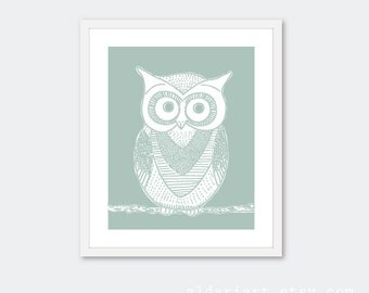 Owl Art Print - Owl Wall Art - Owl Decor - Nursery Owl Print - Seafoam Sage Green - Woodland Bird