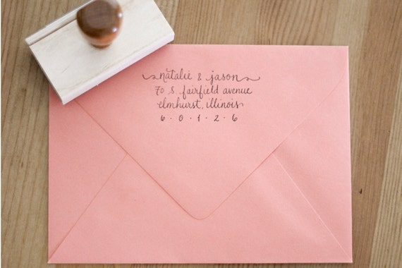 Return Address Wood Handle Rubber Stamp Lowercase Scripted Calligraphy Style