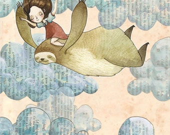I Don't Mind if We Fly or Fall - A5 Print - sloth girl love friends friendship sky clouds flying falling whimsy happiness antique paper