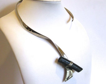 Vintage 50s 60s Mid Century Modernist Organic Stainless Steel & Black Tourmaline Crystal Handmade Studio Jewelry Necklace