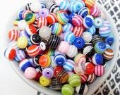 50x 8mm Resin Multi color stripe Globe beads