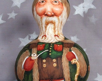 "Nollaig Shona Duit, Irish Santa Claus, Father Christmas, hand painted gourd art, 8 1/2"" tall"