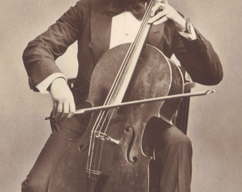 Otto Storm, Hungarian Silent Film Actor, Poses with Cello, Austrian Card, circa late 1910s