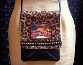 Handmade Purse with Jaguar Print Fabric and Black Leather, Jaguar Graphic and Vintage Brass Trim, Over the Shoulder