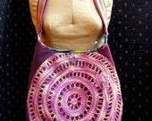 Handmade Purse, Two Shades Purple Velvet, Vintage Purple Variegated Doily, Vintage Woven Trim, Cotton Fabric, Key