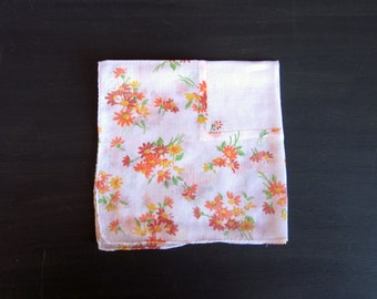 Vintage Hanky, Handkerchief, White Floral Fine Cotton, Inset Center, Embroidered Flower, Square, Rolled Hem