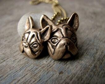 Mother daughter parent kid dog necklace bulldog