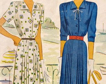 40s Dress Pattern McCall 6901 V Neck Wing Collar Pleated Skirt Buttoned Front Dress Bust 38 MOSTLY UNCUT