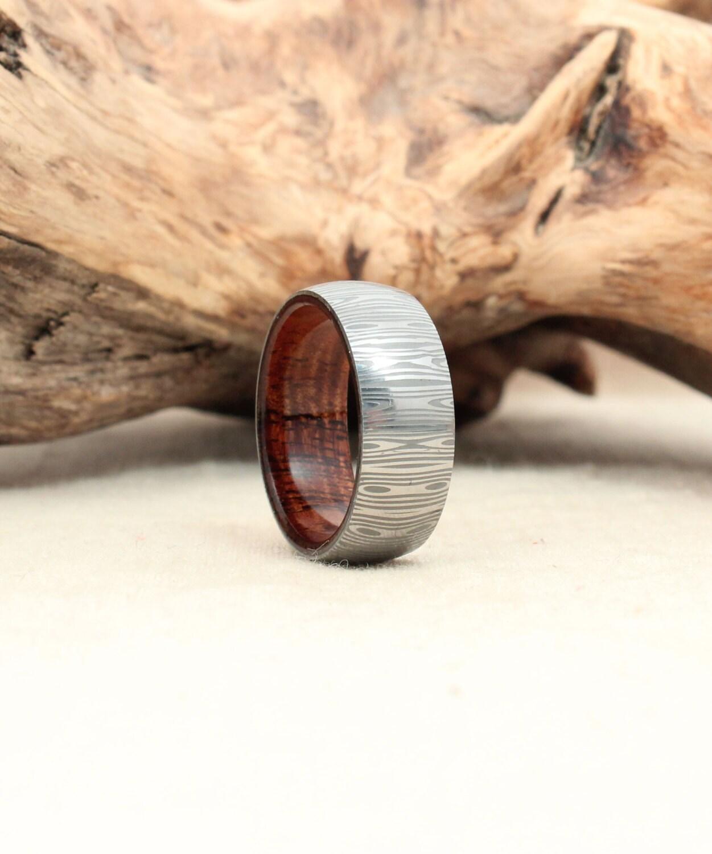 Awesome Mens Wedding Rings: Damascus Steel And Wood Ring Hawaiian Koa Wooden Ring