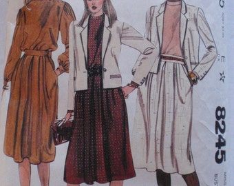 Women's Jacket, Blouse, Skirt or Two-Piece Dress Sewing Pattern - McCall's 8245 -  Size 12, Bust 34
