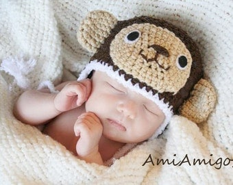 Crochet Little Monkey Hat (Newborn)