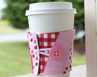 Valentine's Coffee Sleeve - Patchwork Cup Cozy - Red and Pink Cup Cozy - Gingham, Hearts, Polka Dots - Valentine's Day Gift - Ready To Ship