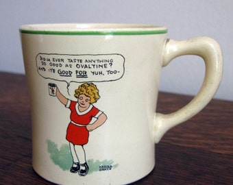antique ceramic orphan Annie ovaltine mug Wander Co.